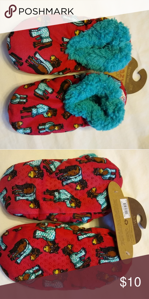 a3a19f411e7c Lazy One Women s Slippers (I Don t Do Mornings) Red fuzzy feet slippers with  horse in pajamas. Thick