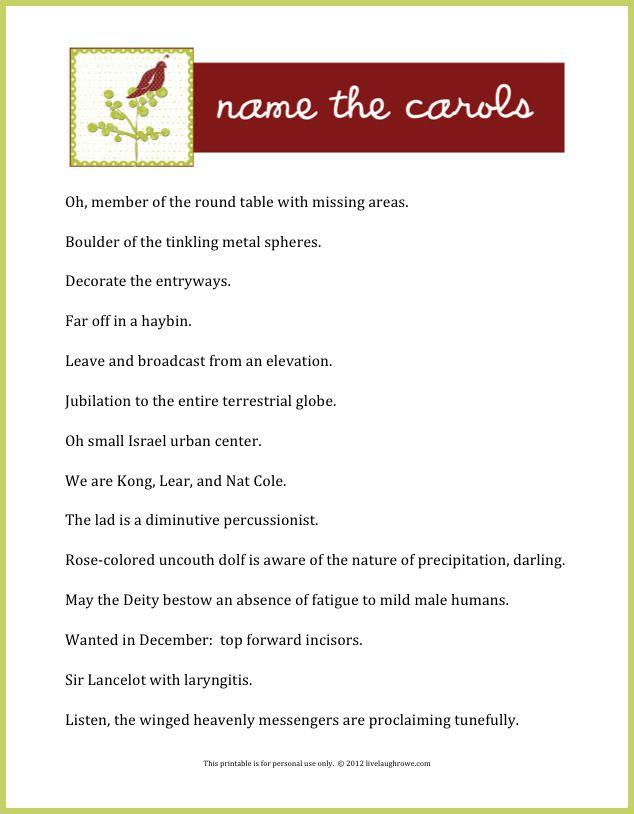 Name the Carols | Holiday games, Family gatherings and Holidays