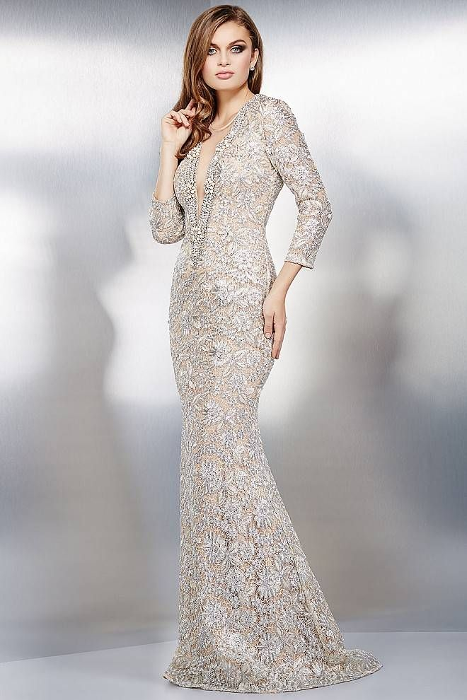 Silver Lace Mermaid Dress