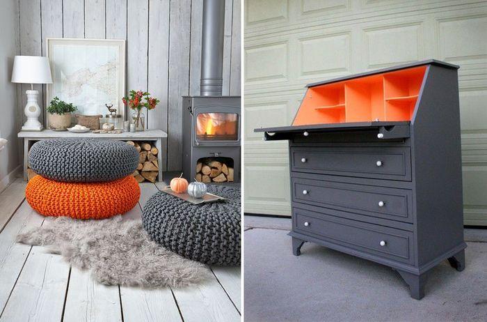 Серый с оранжевым: 50 примеров яркого цветового сочетания – Вдохновение