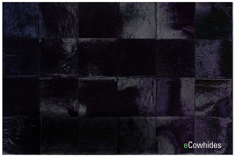 Black Patchwork cowhide rug, Black cowhide rug