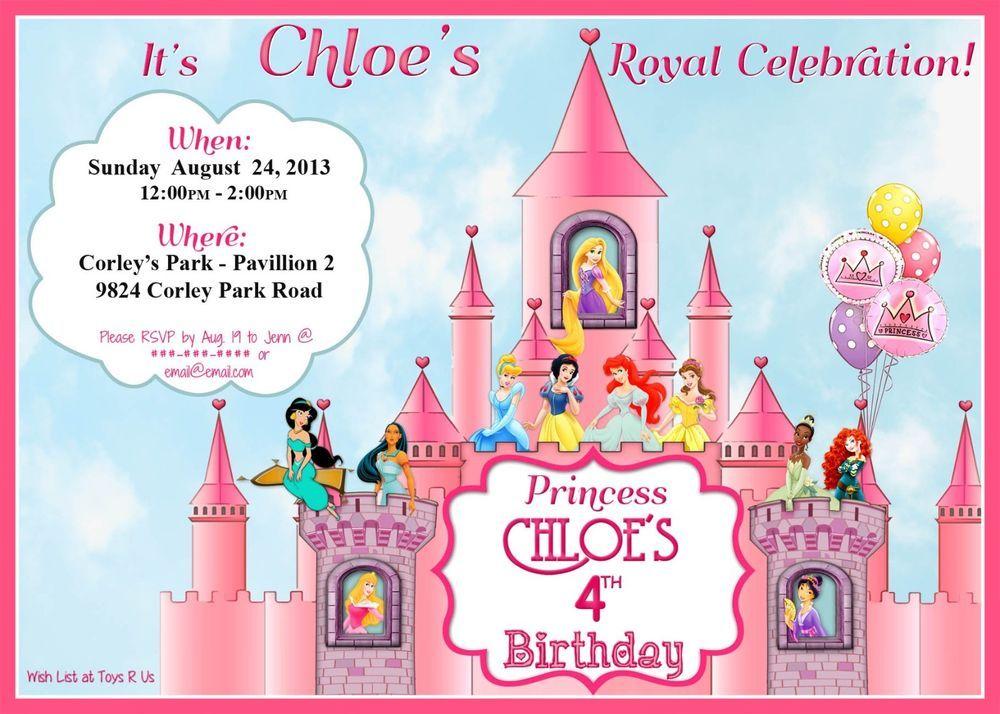 Disney Princesses Themed Custom/ Personalized PRINTABLE Birthday ...