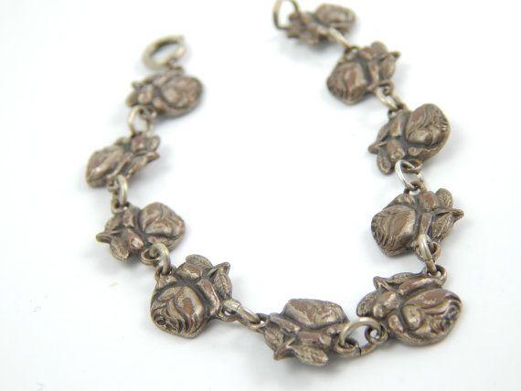 Vintage Catholic Saint Rosary Bracelet - Silver Rose Pedal Saint