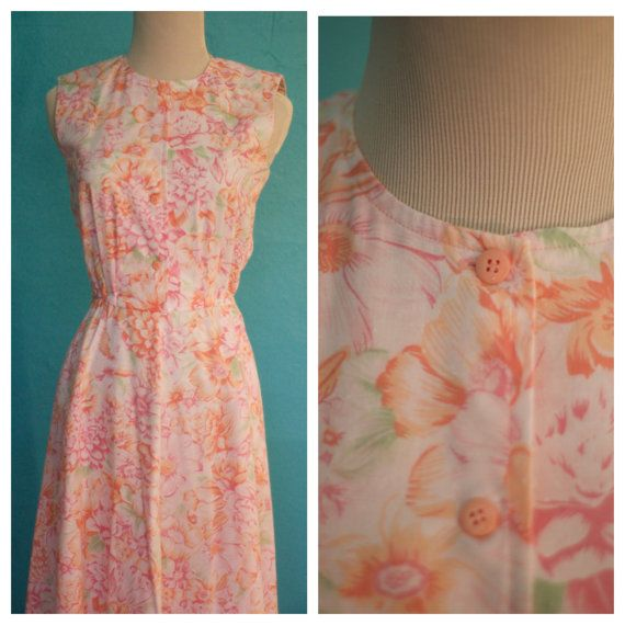 Vintage 1960's Peach Floral Dress by RazzleDazzleRosie on Etsy, $19.99