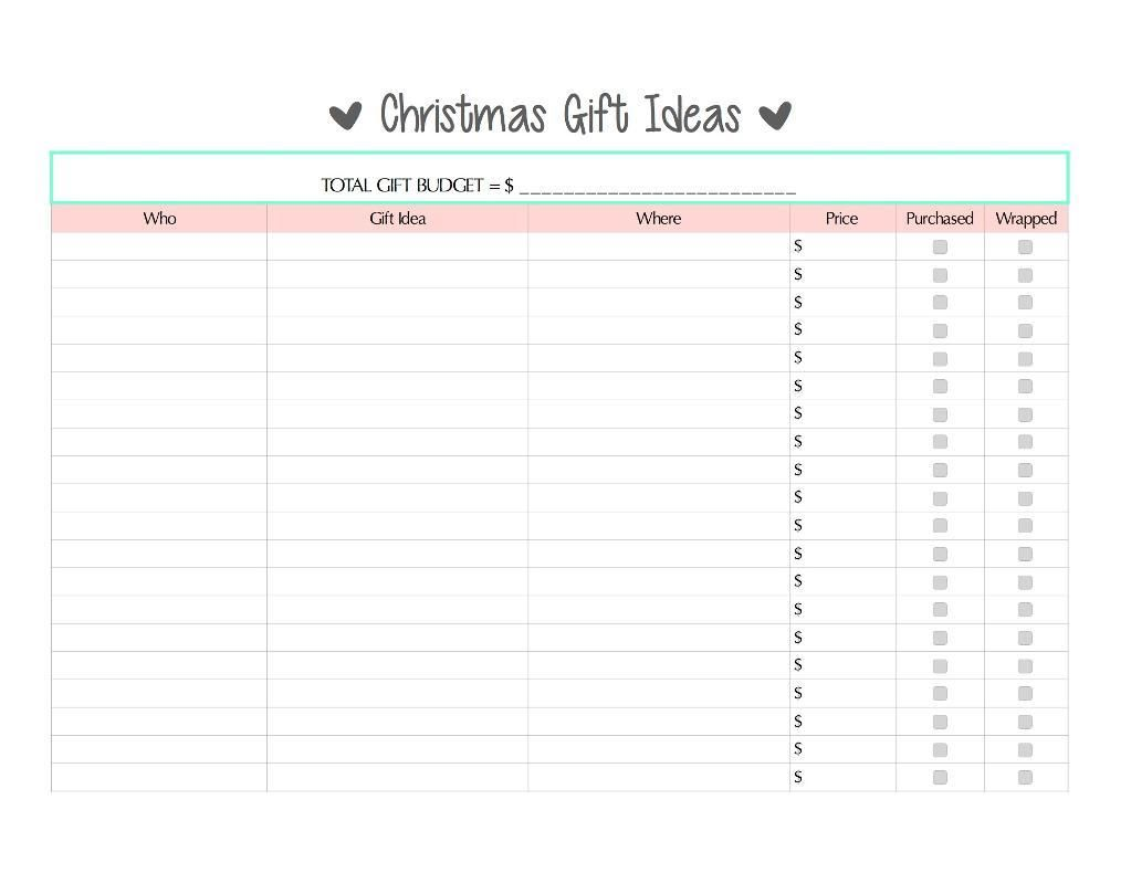 11) Name: \'Other : Holiday Gift Tracker Printables - Free | clever ...