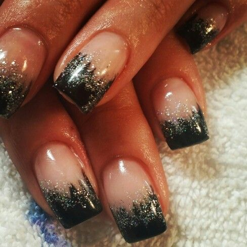 black and silver fade  prom nails fancy nails wedding nails
