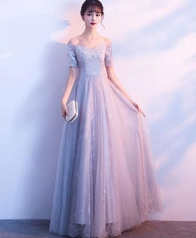 9afac68895 Gray tulle lace off shoulder long prom dress