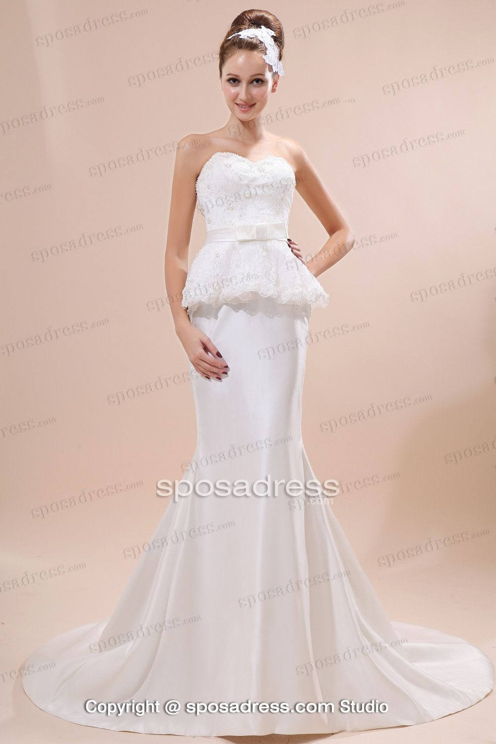 Decent Pure White Sweetheart Mermaid Wedding Dress With Court Train ...