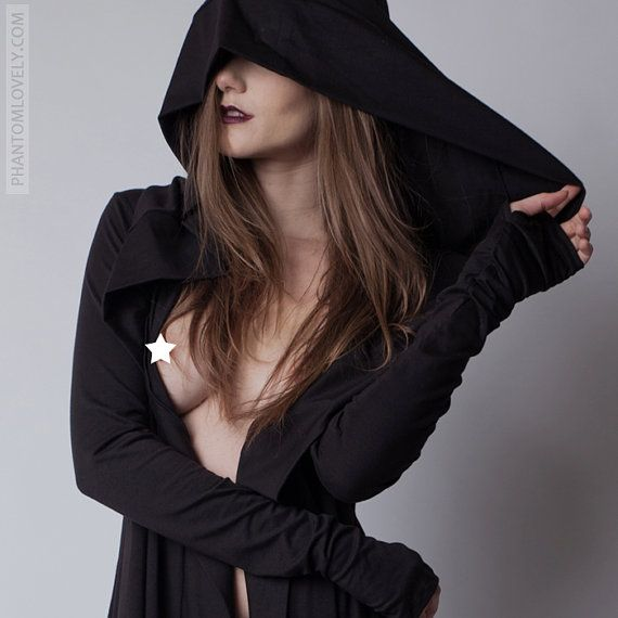 DARKNESS Hooded Cloak Jacket Pockets Thumb Hole by Phantomlovely ...