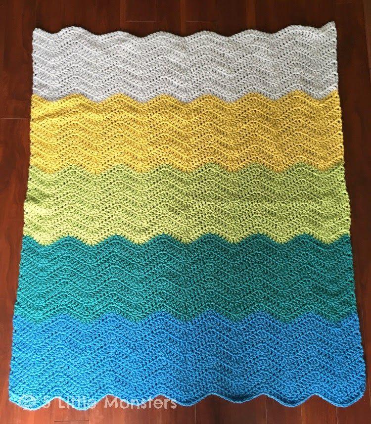 Colorblock Crocheted Ripple Baby Blanket