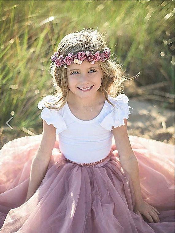 0baa3ca36 Chicas polvo rosa tutú falda de tul rosa malva rosado del