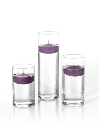 """Product: 3"""" Floating Candles and Cylinder Vases - Set of 18"""