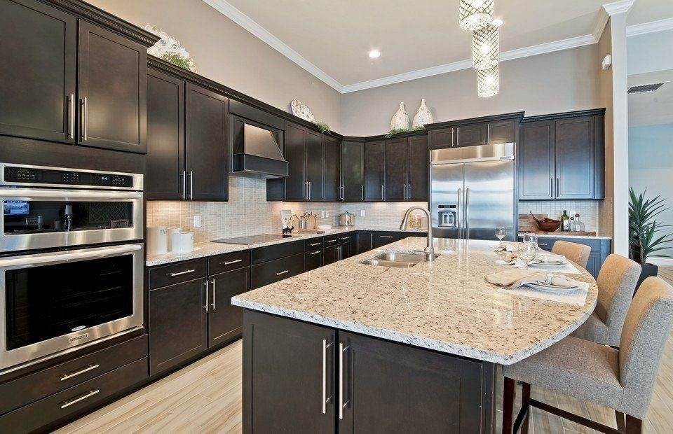 Best Contemporary Kitchen With Siena Beige Granite L Shaped 400 x 300