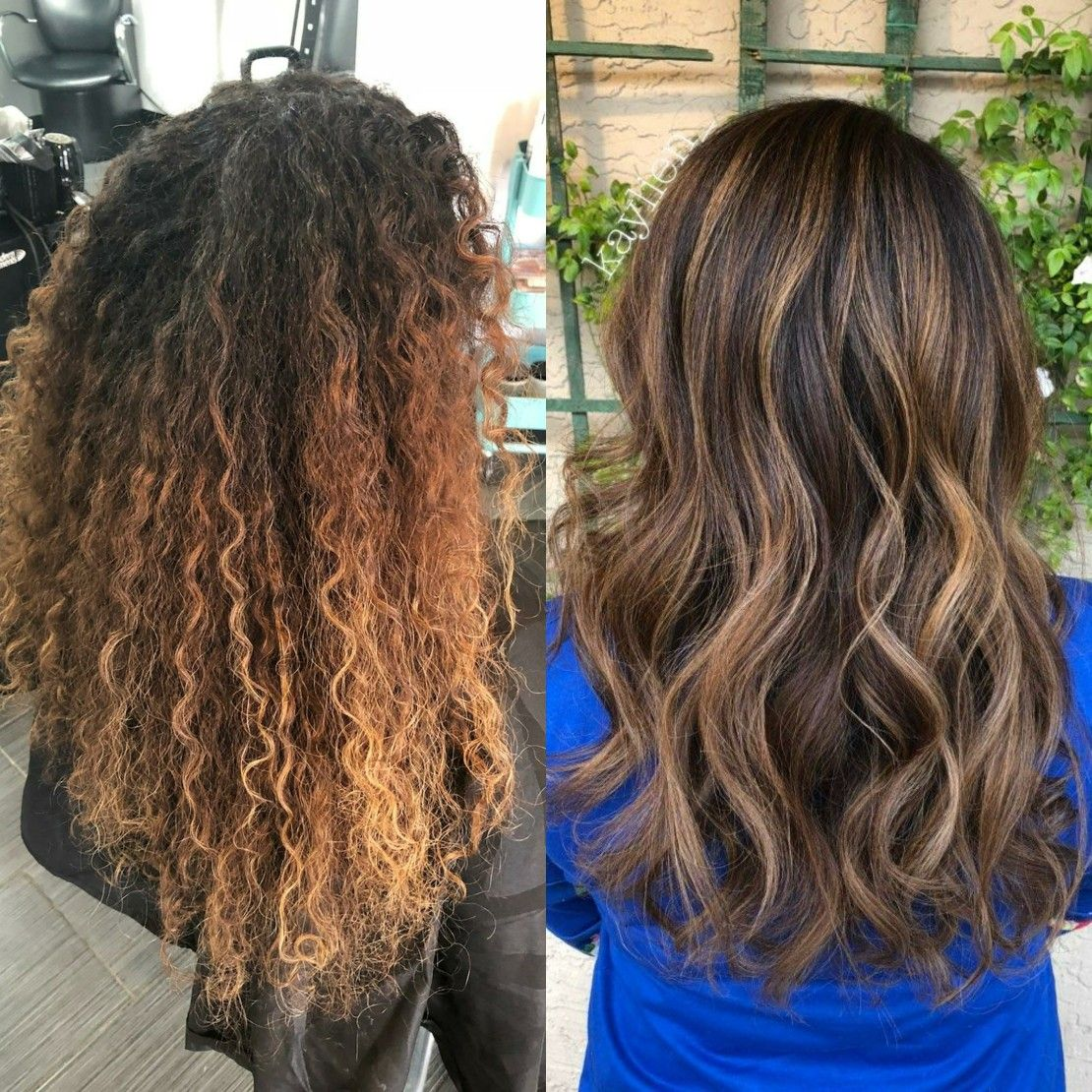 Before And After Woth Curly Hair And Bayalage Caramel And Highlights Hair Beauty Hair Hair Styles
