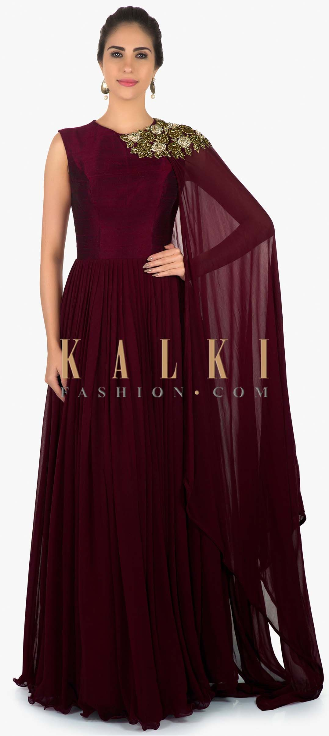 d70643552d7 Wine anarkali suit in zardosi embroidered attach dupatta only on Kalki