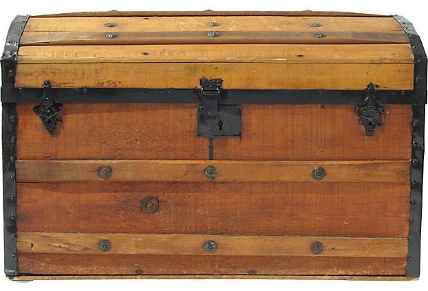Antique Trunk w/ Pine Tray by Ruby + George on @One Kings Lane Vintage & Market Finds $499