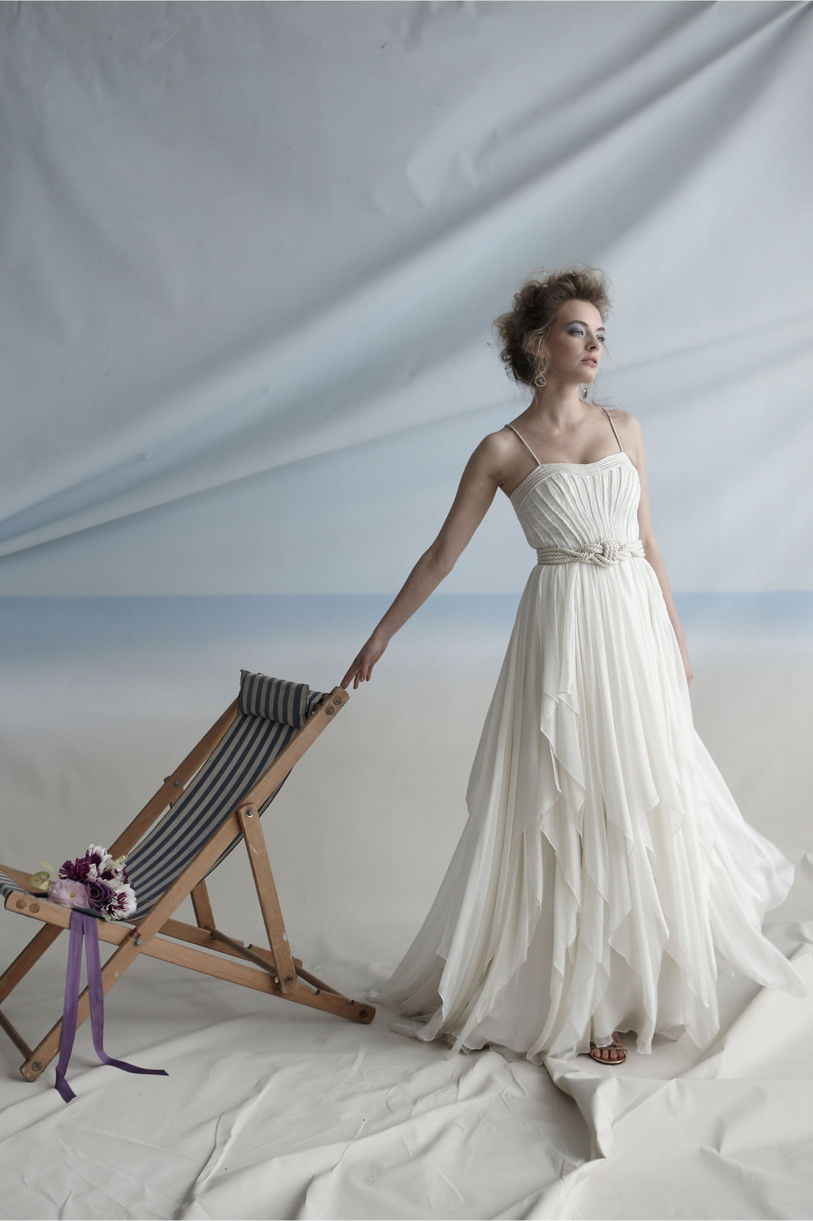 Cascading goddess gown from bhldn nautical gown wedding debut