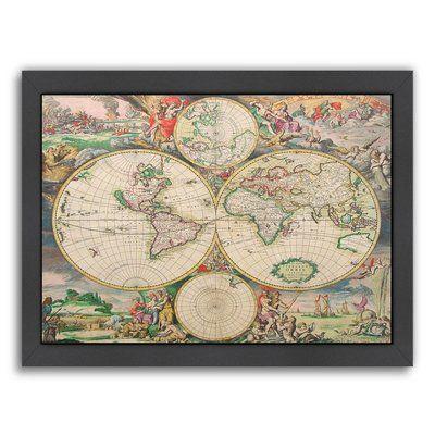 """East Urban Home 'World Map Vintage' by Indigo Sage Framed Graphic Art Frame Color: Black, Size: 19"""" H x 25"""" W x 1"""" D"""