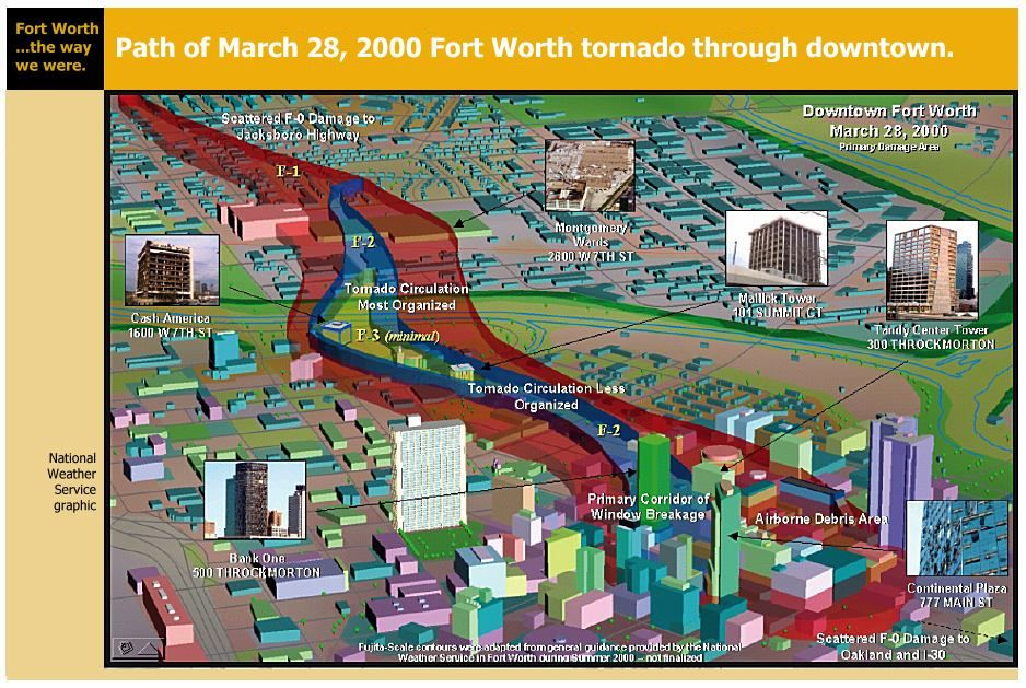 march 20 2000 downtown fort worth tornado path Fort