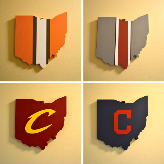 Northeast Ohio Sports Wall Art Collection - Four Handmade Wooden ...