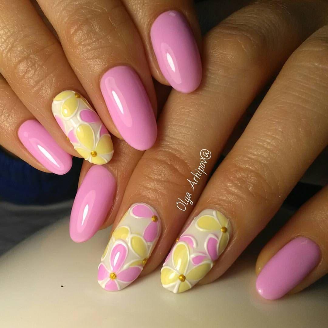 Желто розовые ногти фото