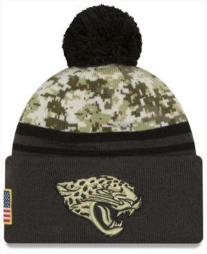 3727bb7925b New Era Men s Jacksonville Jaguars Salute to Service Official Pom Knit Hat  - Black Adjustable