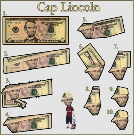 How To Fold A 5 Bill To Give Lincoln A Baseball Cap Dollar Bill Origami Dollar Origami Money Origami