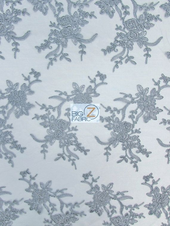 """Floral Embroidery Master Lace Fabric - GRAY - 54"""" Width Sold By The Yard"""