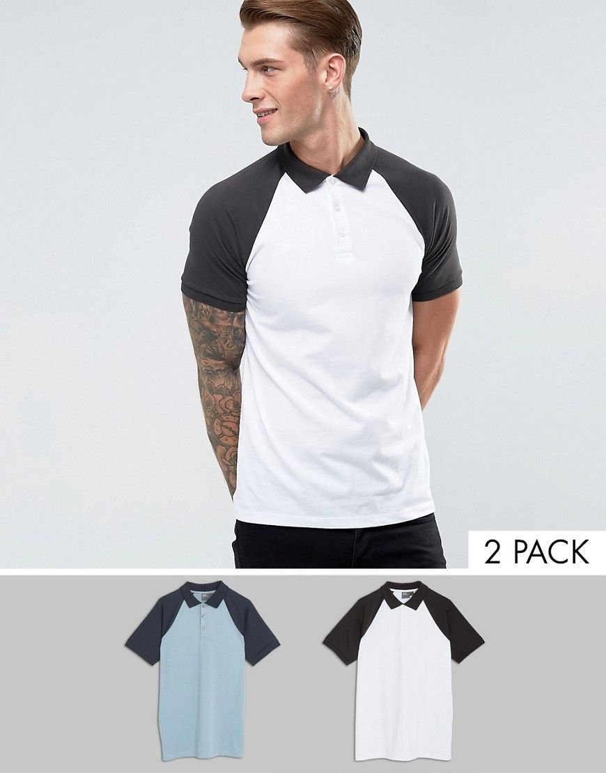 Get this Asos's polo shirt now! Click for more details. Worldwide shipping. ASOS Polo With Contrast Raglan 2 Pack SAVE - Multi: Polo shirt by ASOS, Pack of two, Cotton jersey, Polo collar, Button placket, Contrast raglan sleeves, Regular fit - true to size, Machine wash, 100% Cotton, Our model wears a size Medium and is 189cm/6'2.5 tall. ASOS menswear shuts down the new season with the latest trends and the coolest products, designed in London and sold across the world. Update your go-to…