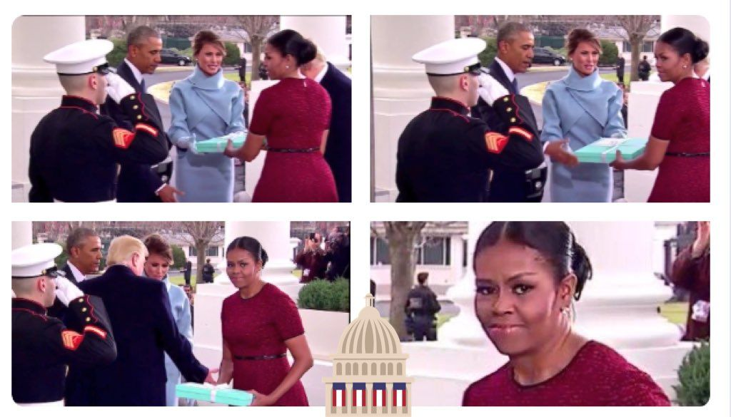 Michelle Obama's face when Melania Trump gave her a gift!