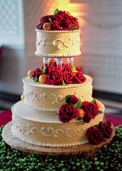 Ivory Wedding Cake with Red Roses | Three tier cake, Tiered cakes ...