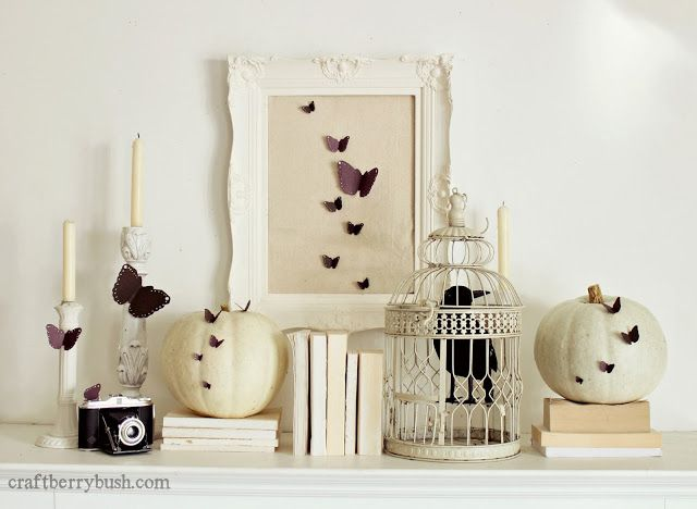 Craftberry Bush - non scary Halloween mantel #halloween#mantel#decor