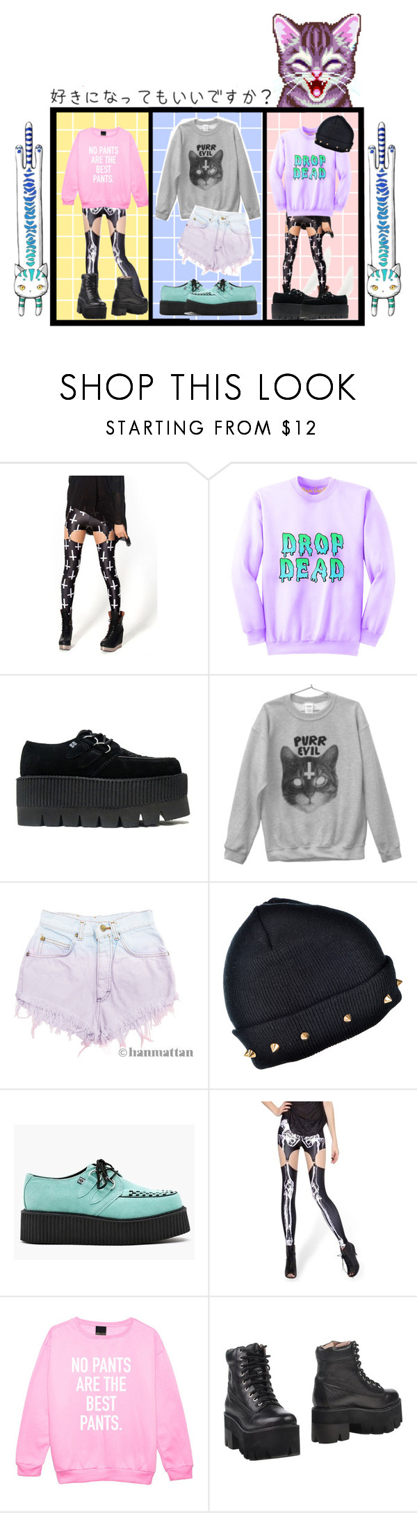 """PASTEL GOTH STYLE❤"" by vocaloid523 ❤ liked on Polyvore featuring As Is, T.U.K., Levi's, Jeffrey Campbell, women's clothing, women's fashion, women, female, woman and misses"