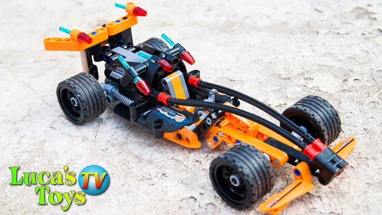 Technic pull back racing car speed build and driving crash