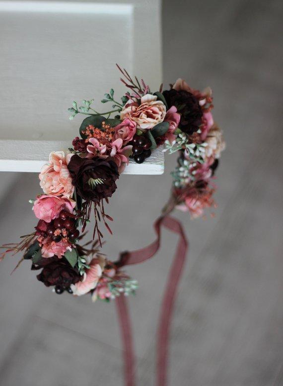 Photo of Burgundy rust velvet wedding flower crown flowers headdress maternity bridal hair wreath flowers girl bridesmaid hair flowers mom and me