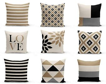 Marvelous Neutral Throw Pillow Covers Taupe Beige Black Grey