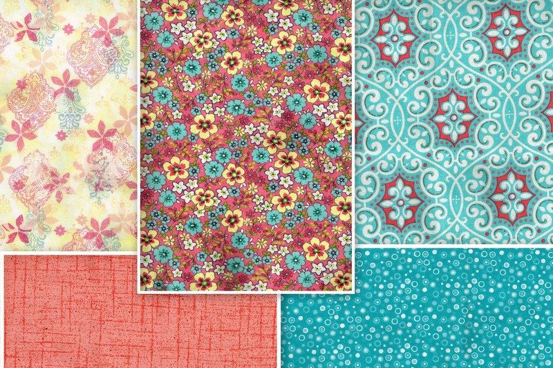 Fat Quarter Bundle Of 5, FQB1945, 100% Cotton Fabric, Various Prints, Teal. Coral, Yellow, White, Quilting, Crafting, Apparel and More by OhSewWorthIt2Quilt on Etsy