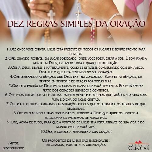 10 dicas para oração