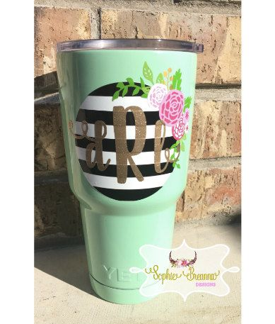 Striped Floral Monogram Decal Floral Monogram Sticker Custom - Custom stickers for yeti cups