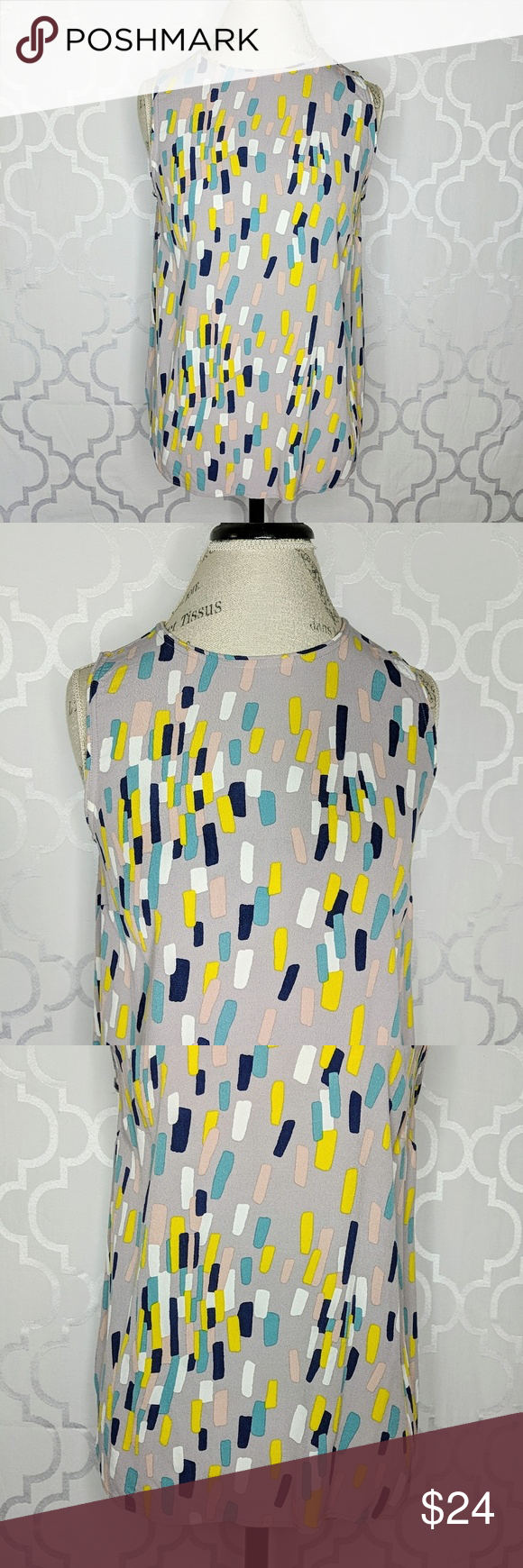 3ef0e75550c387 Boden Abstract Print Top Boden lavandería with a multicolored abstract  print sleeveless blouse. Darts at