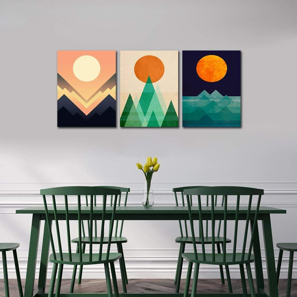 Amazon Com Gardenia Art Abstract Sunrise And Sunset Canvas Prints Wall Art Paintings Abstract Geometr Modern Wall Art Canvas Sunset Canvas Wall Art Painting