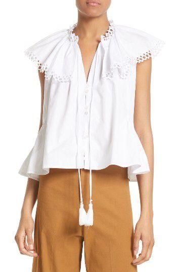 Sea Sea Cirque Eyelet Cotton Top Available At Nordstrom Shirts