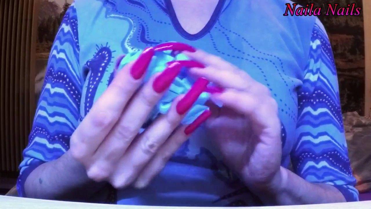 ASMR - Rubbing nitrile gloves + Showing my long nails   Naila Nails ...