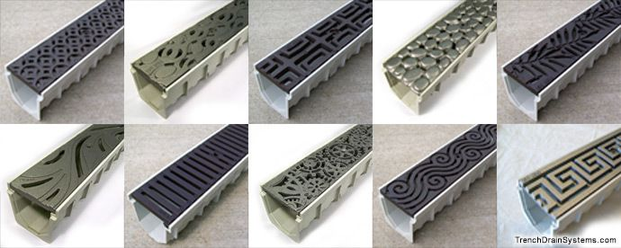 Iron Age Cast Iron Grates Are Offered In A Variety Of Patterns Www Drainagekits Com Trench Drain Trench Drain Systems Drainage Grates