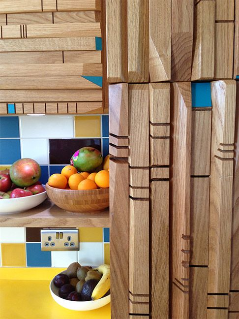 SQ1 Kitchen - Imperial Yellow Corian, Bermuda Formica, Oak ...