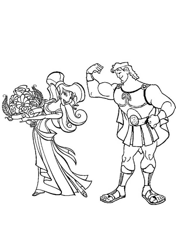 Hercules Smother Megara With Flower Coloring Pages Bulk Color Flower Coloring Pages Coloring Pages Coloring Pictures