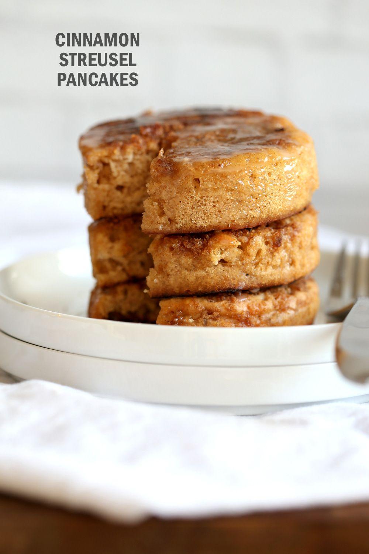 Vegan Cinnamon Streusel Pancakes Coffee Cake Pancakes