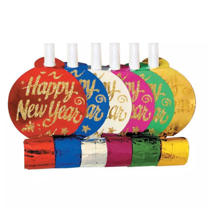 24ct New Year's Assorted Party Blowers Target Party
