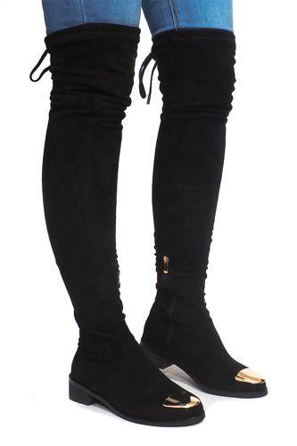 Wysokie Zamszowe Kozaki Lycra B 8 Czarny Boots Stiletto Boot Pumps