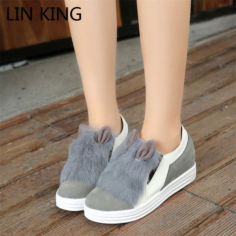 Women's Cute Winter Christmas Snow Boot Rabbit Ears Front Decoration (Pink Brown Grey Black)